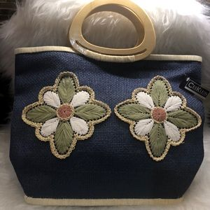 Cee Klein blue straw tote bag with flowers